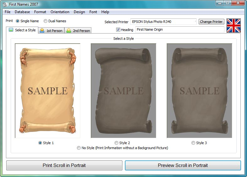 Meaning of First Name Software - Create Personalised Gifts